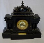 Early 20th century slate mantel clock with plaque inscribed 'Presented to Chief Officer I H McCarthy