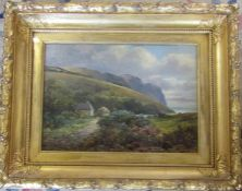 Victorian gilt framed and glazed oil painting of a rural scene, appears unsigned 49.5 cm x 40 cm (