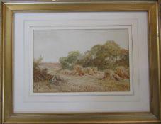 Framed watercolour of a harvest scene initialled D.B 58 cm x 45 cm (size including frame)