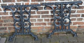 Pair of cast iron table ends