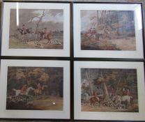4 framed hunting prints 60 cm x 49 cm (size including frame)