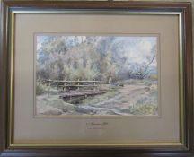 Framed watercolour 'Ford at Hagworthingham' by C J Thornton HC (Gold Medal, Paris Salon) 47 cm x