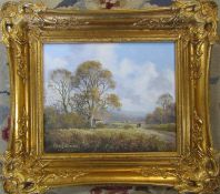 Gilt framed oil on canvas of a rural scene by Peter J Greenhill 44 cm x 39 cm (size including