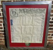 Large framed George III recovery document dated 1781 with remains of a seal in tin case relating