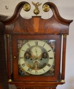 Georgian 8 day longcase clock with painted dial by