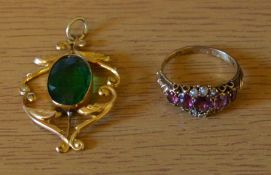 15ct gold amethyst & seed pearl ring (missing a pearl) 2.1g & a green stone mounted in a 9ct gold