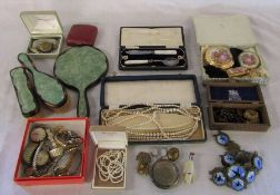 Various costume jewellery, pearls, dressing table set, compact etc