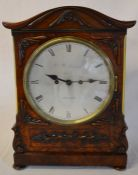 William IV mantel clock in a mahogany veneer case with moulded decoration, silvered dial engraved