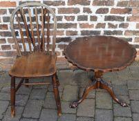 Reproduction Georgian tilt top table & a kitchen chair