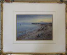 Framed watercolour of a beach scene by W B Thomas 59 cm x 47 cm (size including frame)