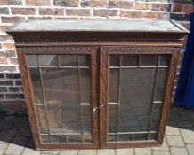 19th century carved oak glass fronted wall cabinet H 108cm W 112