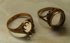 2 9ct gold rings (missing stones) total weight 5.2 g