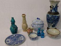 Large crackle glaze vase, Chinese porcelain bowl (