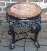 Carved Chinese ebony and marble plant stand on bal