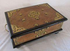 19th century walnut & ebony box with brass mounts