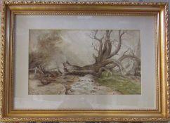 Gilt framed watercolour of a rural scene signed J Halford Ross (1866-1909) 54 cm x 39.5 cm (size