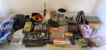 Various vintage kitchenalia etc inc First Aid kit, cake knife, lifebouy soap, tins, table top