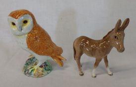 Beswick owl and donkey foal