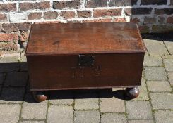 18th century oak bible box with later bun feet and engraved 'MG' W 69cm D34cm H 38cm