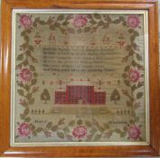 Framed Georgian sampler by Mary Whitworth dated 18