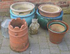 Various planters, chimney pot etc