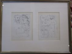 Pair of Pablo Picasso (1881-1973) lithographic prints in a frame from the Vollard Suite published in