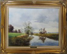 Large oil on canvas 'Behind Stockwith Mill' by Peter J Greenhill 76 cm x 61 cm (size including