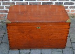 Victorian mahogany campaign trunk with brass corners & side handle with 2 lift out compartment