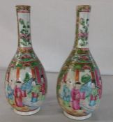 Pair of nineteenth century Cantonese bottle vases height 20cm (hairline crack approx. 7.5cm)