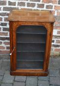 Late Victorian walnut veneer display cabinet with ormolu gallery H 87cm D 33cm W 55cm