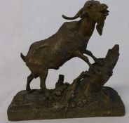 "French bronze sculpture of a mountain goat after P J Mene on oblong base entitled ""Bouc De Linde"""
