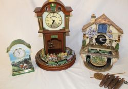 3 Bradford Editions Flying Scotsman clocks - Heirloom Porcelain clock, Memories of Steam cuckoo