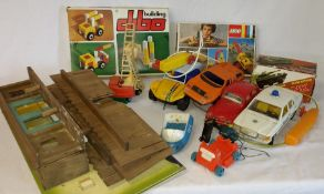 Vintage Lego digger set 387 (not checked) Dibo building set, old fort and selection of toy cars