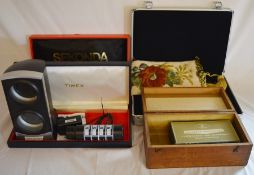 Aluminium carry case for watches (as new), Sekonda & Timex cases, double automatic watch winder,