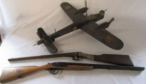 Large wooden model of a Wellington bomber / A W Whitley type aircraft (handmade) c.1938/40 and