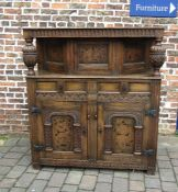 Superior reproduction 17 century oak court cupboard with marquetry panels H 152cm W 137cm D 43cm