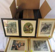 Box of 25 assorted framed prints