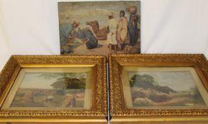 Pair of framed oils on board depicting harvest scenes signed L Denniss 1900 48cm x 43cm (including