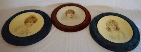 3 Edwardian circular concave portraits of young ladies