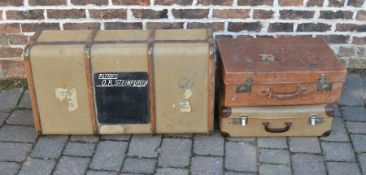 2 vintage suitcases and a trunk