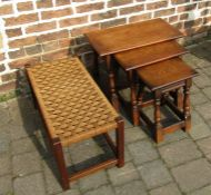 Nest of tables and a long footstool