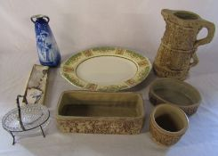 Quantity of Hillstonia pottery, meat dish, vase (af) and silver plate
