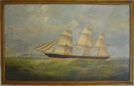 Late 19th century/early 20th century oil on canvas of a ship at sea. Frame size 98cm by 62cm