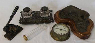 Art Nouveau decorative ink stand, brass clock, hair pin bottle, desk stamper and Merryweather otter