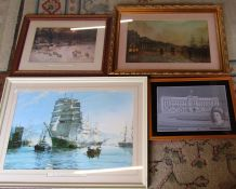 Various prints inc The Shortening Winter's Day by Joseph Farquharson & a framed lace picture of