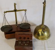Set of apothecary scales, weights and brass sprayer (incomplete)