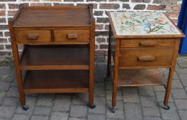 1930s oak trolley & a 1930s table with fabric top