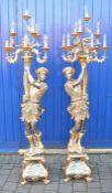 Pair of large Blackamoor figural floor lamps H 194 cm