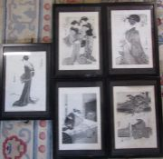 Set of 5 framed black and white Oriental prints