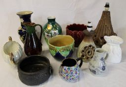Selection of jardinieres, Bretby bowl, 2 lamp bases etc.